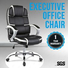 Ergonomic Office Chair Leather High Back Swivel Height Adjustable Black&silver