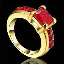 Size 8 Fashion Jewelry Red Ruby10K yellow Gold Filled Women Engagement Ring