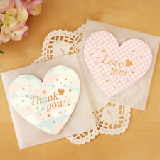 5Pcs Heart Stylish Birthday Card Best Wishes Greeting Valentine Thank You Card