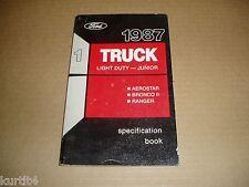 1987 Ford truck Ranger Bronco II Aerostar Van service specification shop manual