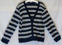 Boys Cherokee Blue Grey Stripe Thin Knit V-Neck Cardigan Age 8-9 Years