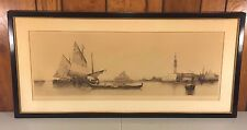 Antique Lithograph of Venice Italy Captures St Marks, Gondola Sail Boats Signed