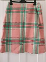 Womens Boden Green Pink Check Plaid Wool Blend Lined Skirt With Pockets 14L.