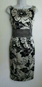 """Gorgeous Coast """" Leticia"""" Ivory/Black Satin fitted occasion dress size 10"""