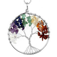 Natural Chakra Stone Chip Beads Tree Of Life Healing Pendant fit Necklace Gift