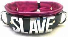 Large CHROME Letters! Leather collar - ANY word!!