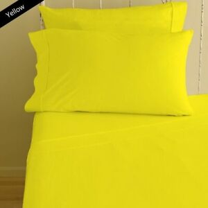6 PC Sheet Set Egyptian Cotton 1000 Thread Count UK Super King Yellow Solid