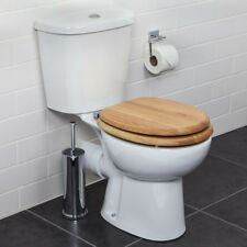 Croydex Flexi-Fix Rutland Toilet Seat Soft Close Solid Oak Wood Quick Release