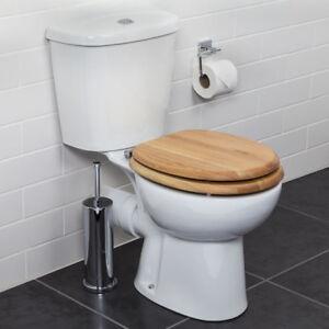 Croydex Flexi-Fix Rutland Toilet Seat Soft Close Solid Oak Wood Quick Release