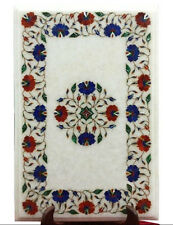 """12""""x18"""" Marble Coffee Table Top Mosaic Lapis Carnelian Inlay Outdoor Decor H1688"""