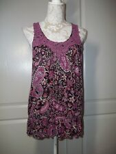 APT.9 sleeveless multi-colored floral Top with lacy Detail, Size L