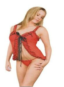 SEXY RED & BLACK SHEER BABYDOLL NIGHTIE CAMI CHEMISE & THONG SET BNIB S/M/L