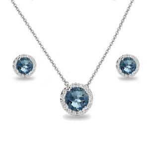 Halo London Blue Topaz & White topaz Necklace & Stud Earrings Set in 925 Silver