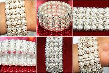 Pearl Bracelet Designer Fashion Diamonte Stretchable Ladies Wrist Silver Bangle