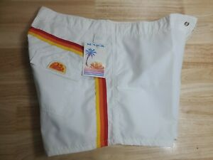 NWT vintage 70s 80s Sundek White rainbow shorts