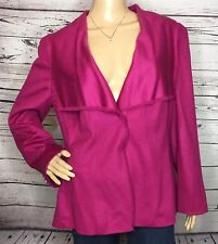 Rena Lange Pink 100% Cashmere Long Sleeve Blazer Jacket Size 18