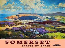 Somerset Great Britain England Vintage Railroad Travel Advertisement Art Poster