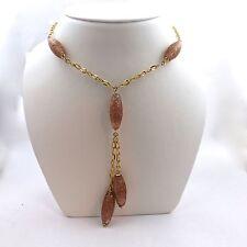 14K Gold Murano Venetian Glass Copper Dangle Necklace NEW