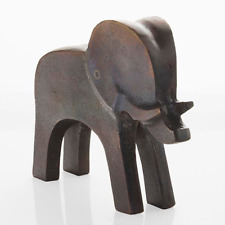 Contemporary Burnished Bronze Standing Elephant Ornament