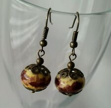 Murano Glass Lampwork Charm Beads Dangle Bronze European Style Earrings Handmade
