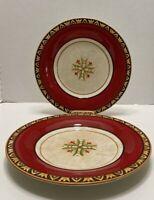 """(2) 11 1/4"""" Fitz & Floyd GLOBAL MARKET RED FLORAL Dinner Plates Excellent"""