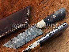 KOTEXO USA TANTO HANDMADE DAMASCUS STEEL TANTO HUNTING KNIFE -  BONE - KX-124
