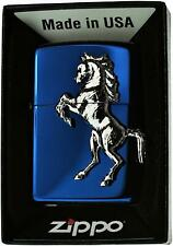 Zippo Oil Lighter Winning Winnie Horse Titanium Blue Brass Shiny Japan F/S