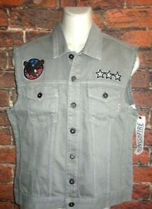 MENS RING OF FIRE GRAY DENIM JEAN PATCHES VEST SIZE L