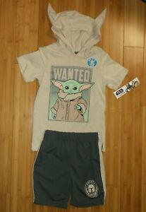 New boy 5 5T STAR WARS summer outfit 2-pcs set hooded top + shorts Baby Yoda