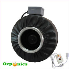 """8"""" HYDROPONICS CENTRIFUGAL FAN INLINE DUCT BLOWER WITH FAN SPEED CONTROLLER"""