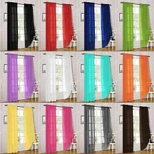 2 Piece Sheer Voile Rod Pocket Window Panel Curtain Drapes Many Sizes & Colors