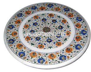 "24"" Marble Coffee Table Top Lapis Floral Inlay Marquetry Garden Decor Gift H982"