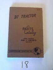 CAT CATERPILLAR D7 TRACTOR CRAWLER DOZER PARTS CATALOG S/N 9G1-9G2875