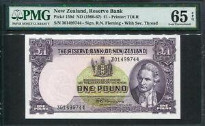 New Zealand 1960-1967, 1 Pound, P159d, PMG 65 EPQ GEM UNC