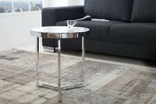 Designer Coffee Table Glass Table Coffee Table Chrome Silver Repro Milky 50