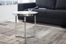 Designer Couchtisch Glastisch Tisch Beistelltisch Chrom in Silber REPRO Milchig