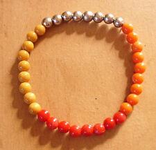 Perlen Armband Armreif Modeschmuck  Armschmuck Orange Silber Rot Gelb