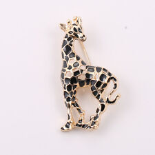 Broche Dorado Ciervo Animal Esmalte Negro Simple Antiguo Estilo Clase Retro XZ3