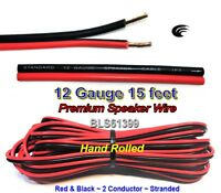 15' ft Red Black 12 Gauge SPEAKER WIRE Cable Home Car Audio Wiring 12V DC Power