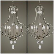 "PAIR 34"" POLISHED NICKEL HANGING PENDANT DINING LIGHT CHANDELIER GLASS DROPS"