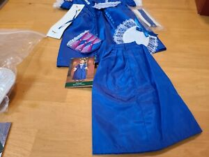 American Girl Felicity Blue Holiday Outfit Gown Dress Necklace