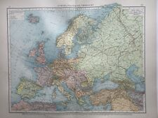 1899 Europe Original Antique Map by Richard Andree