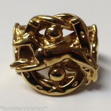 BIG 26g GREYHOUND DOG HORSE SHOE KEEPER RING 9CT GOLD ON JEWELLERS BRONZE SIZE Y