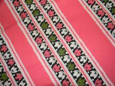 Vintage fabric pink green flowers stripes FQ fat quarter yd 1/4