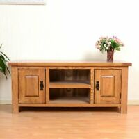 Rustic Oak Large 2 Door TV Stand Solid Wood Plasma TV Unit Rustic Oak Cabinet