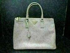Authentic PRADA Saffiano Hand Bag Leather Tote Bag Pink Beige Good 82758