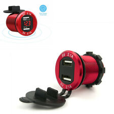 12 V 4.2A Dual USB Auto Zigarettenanzünder Ladegerät Rote LED Digital Voltmeter