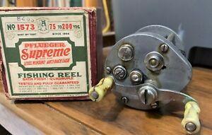 Old Pflueger Supreme in Maroon Box w Paperwork Circa 1930