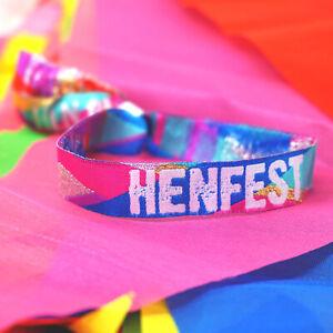 HENFEST (Multi-Coloured) Hen Party Wristbands / Festival Hen Do Party Favours