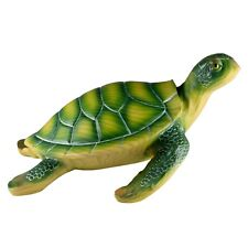 """Large Green Sea Turtle Faux Carved Wood Look Figurine 10"""" Long Resin New In Box!"""
